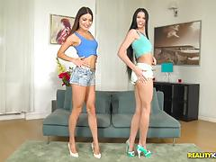 Muffs of kinky babes lovenia lux and roxy dee thrashed balls deep