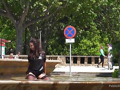 Girl gets fucked by guys on the street and has fun in the fountain after