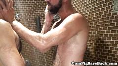 Bareback cub drilled and milked in the shower
