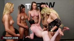 Five shemales and one lucky guy gangbang