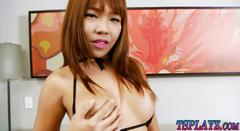 Thai ladyboy shows off ass and handjobs her hard cock