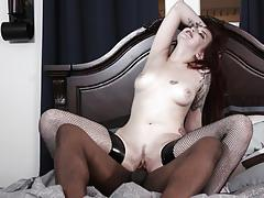 Black dick slamming into gorgeous amber ivy