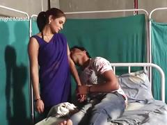 Hindi lady doctor shruti bhabhi romance with patient boy in blue saree hot scene