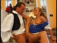 Blonde german sweety gets fucked in kitchen
