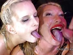 Pissing and bukkakes on two german babes