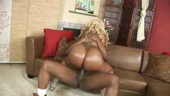 Big ass ebony sucks dick on her knees before fucking