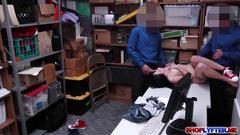 Teen shoplifter megan sage takes two giant dicks