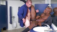 Handsome black man rides a fine white cock in the bathroom