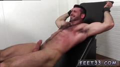 Bearded hunk with hairy chest gets his toes licked