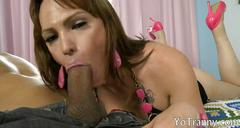 Huge tits shemale gets her anal rammed hard and deep