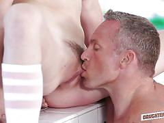 Cute blonde babe with a buzz cut sucks an older man's cock