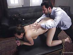 tattoo, bdsm, babe, whipping, punishment, domination, brunette, tied hands, gag, sex and submission, kink, tommy pistol, casey calvert