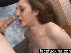 Trish kiss deep throats and puke at face fucking