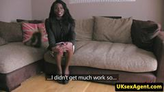 Ebony amateur fucked at casting interview