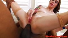 Tattooed babe anally pounded by bbc
