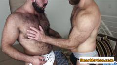 Heavy hairy bear cums during bareback fuck