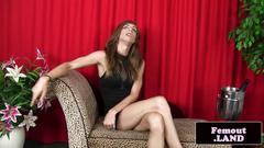 Trap lingerie model wanks her cock