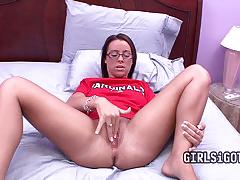 Porn nerd wears glasses and getting horny