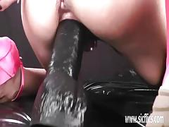 Hot amateur fisted and fucked with a massive dildo