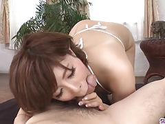Naked milf ririsu ayaka throats cock in fantastic scene