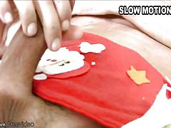 Naughty tranny spanks her shecock with xmas toy and cumshots