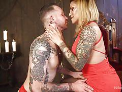 shemale, bdsm, domination, big tits, kissing, babe, blonde, bondage cage, tattooed, ts seduction, kink, ts foxxy, will havoc