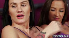 Cfnm babes give handjob blowjob