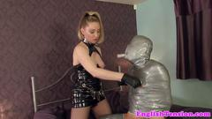 Strapon domina wanks off restrained sub