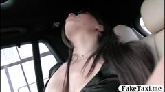 Naughty passenger fucked by fake driver in the backseat movie
