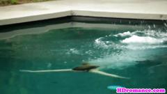 Dicksucking girlfriend banged by the pool