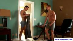 Muscular studs in blowbang session