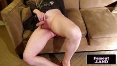 Chubby femboi solo wanking her cock