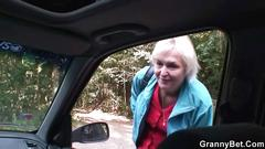 Old granny rides my cock right in the car