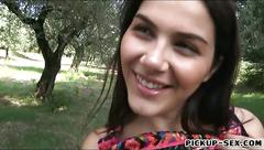 Big tits latina chick banged in the park for some money