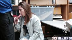 Seductive stealer gives blowjob and drilled