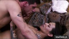 Tattooed ts foxxy gets her asshole screwed hard on the couch