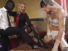 milf, threesome, bride, femdom, bdsm, cumshot, crossdresser, masked, bondage box, divine bitches, kink, will havoc, tony orlando, maitresse madeline marlowe