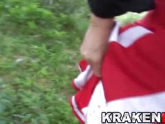 Krakenhot - chubby cheerleader tied to a treee and spanked
