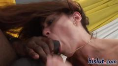 Monster black dick penetrates a hirsute twat