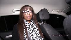 Natural busty ebony bangs in car in public