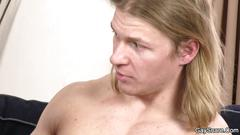 Strong blond man is seduced into gaysex