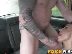 Amazing blonde chick gina with big tits fucked by driver