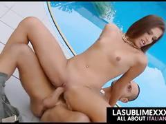 Teen latina fucked on pool