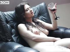 Czech titty lady drinking wine and spreading legs - xczech.com