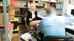 Blonde teen thief caught stealing and fucked by security