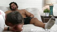 Big dick and muscular atlas jerks his cock while toe sucked