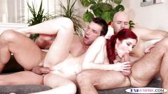 Ass banged studs spitroasting a redhead babe