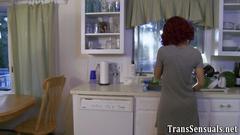 Busty trans babe jizzes porn
