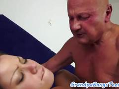 Busty young babe pleasing lucky senior