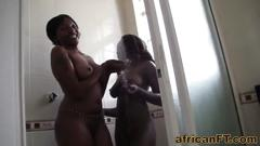 Two hot african babes slammed in a fantastic interracial threesome